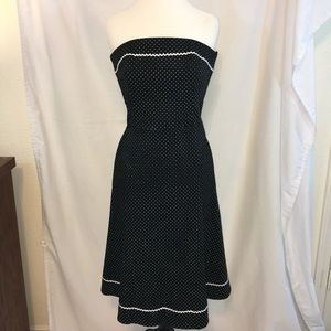 White House Black Market Polka Strapless Dress